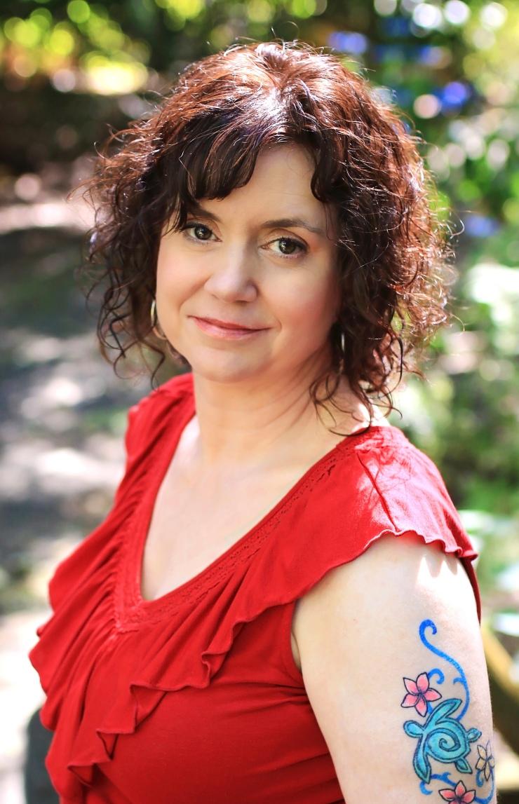 Liz Prato in red dress