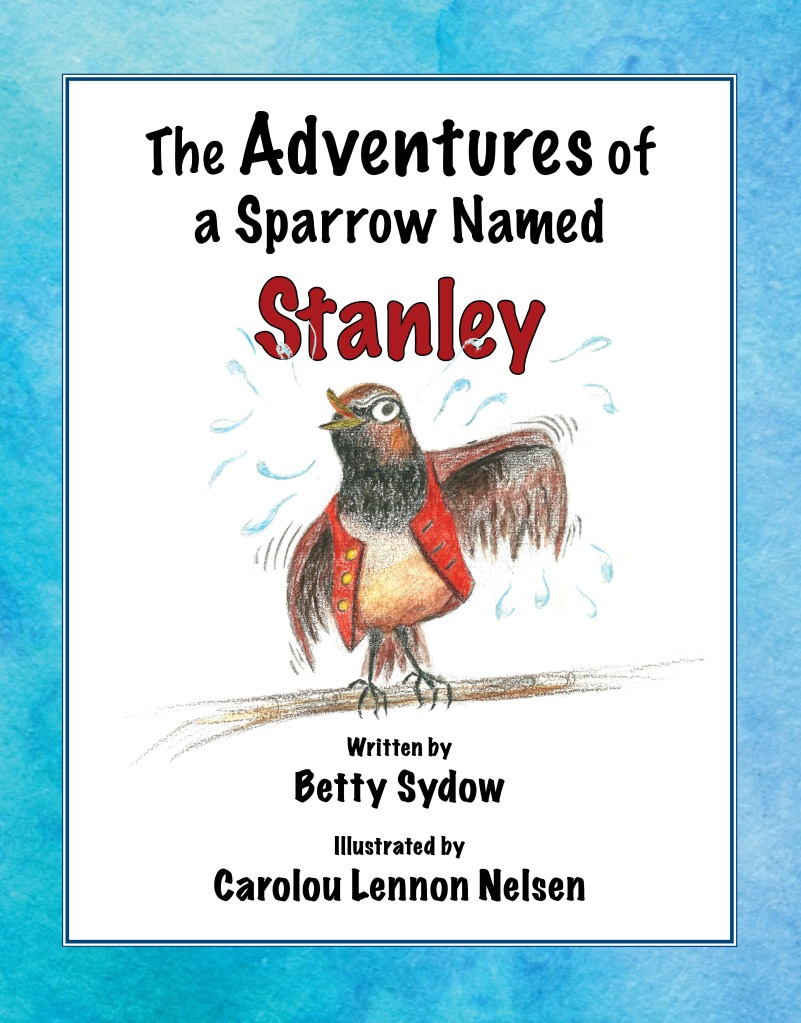 cover: watercolor painting of sparrow wearing red vest, shaking off droplets of water.